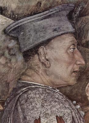 Andrea Mantegna. Meeting of Duke Lodovico Gonzaga and cardinal Francesco Gonzaga, a fragment of Duke Ludovico Gonzaga. Camera degli Sposi