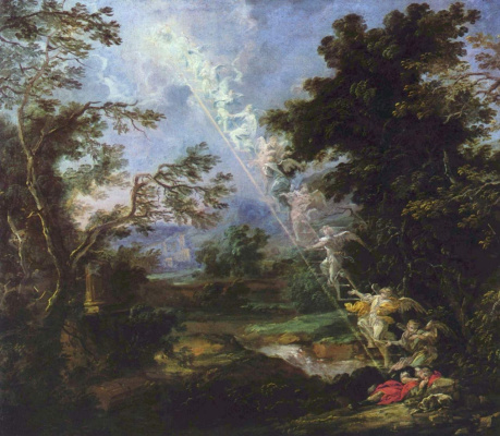 Michael Lucas Leopold n Wilman. Landscape with Jacob's dream: a ladder of angels