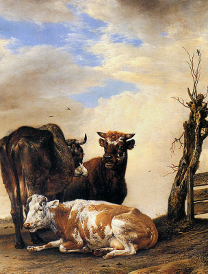 Paulus Potter. Two cows and a bull beside a fence