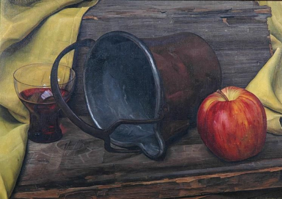 Luigi Lucioni. Apple, copper bucket and a glass of