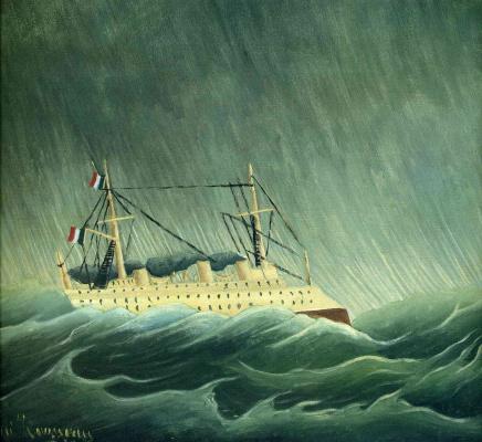 Henri Rousseau. A ship in a storm