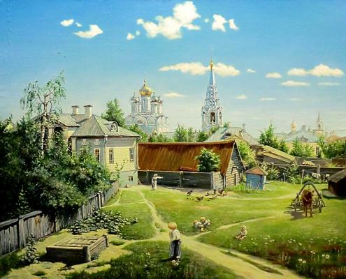 Валерий Васильевич Литвинов. Московский дворик (копия Поленова)