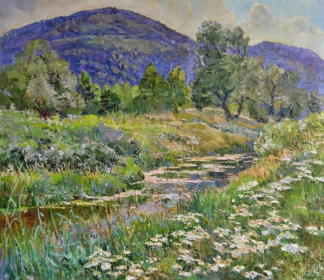 Александр Алексеевич Дубровский. Mountain meadows Painting by Oleksandr Dubrovskyy