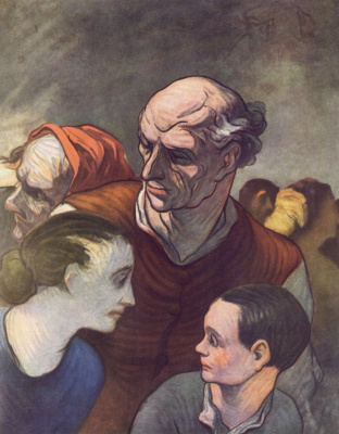 Honore Daumier. Family on the barricades