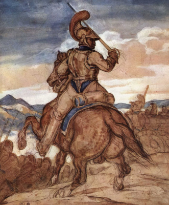 Théodore Géricault. Carabinieri officer on horseback, figure from the back