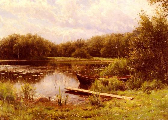 Петер Мёрк Мёнстед. Лодки пришвартованы на тихом озере