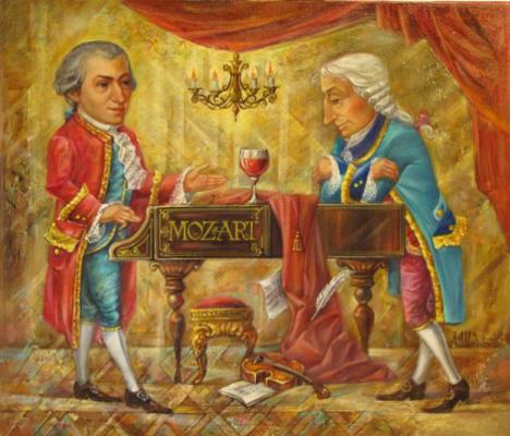 Александр Николаевич Шабанов. MOZART AND SALERY ... MOZART AND GALLERY Oil on canvas 50 * 60
