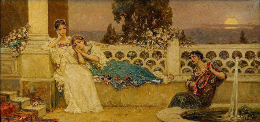 Wilhelm Kotarbinsky. Evening on the terrace (Serenade)