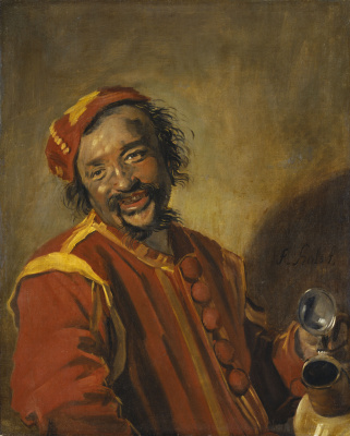 France Hals. Smiley. Portrait of a smiling man with a pitcher