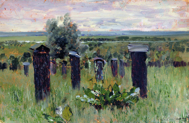 "Isaac Levitan. Landscape with beehives (Apiary). A sketch for the painting ""the Spill on the Sur"""