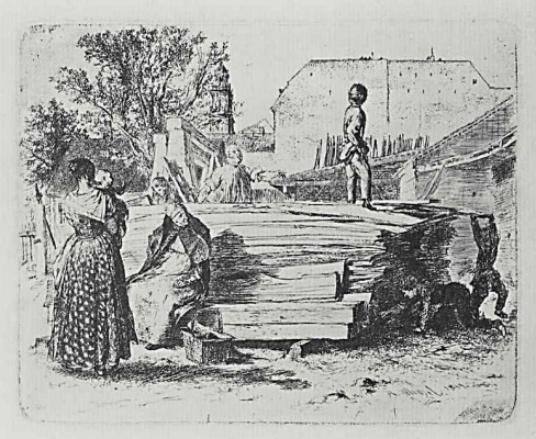 """Adolf Friedrich Erdmann von Menzel. A series of """"Experiments in etching"""" [12], the Stack of boards in the yard, the second state"""