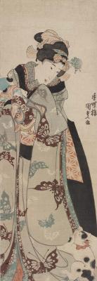 Utagawa Kunisada. Young beauty with a doll and kitten