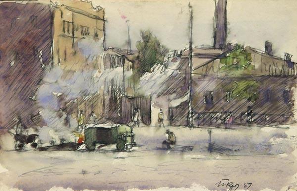 Порфирий Никитич Крылов. Московская улочка. 1959