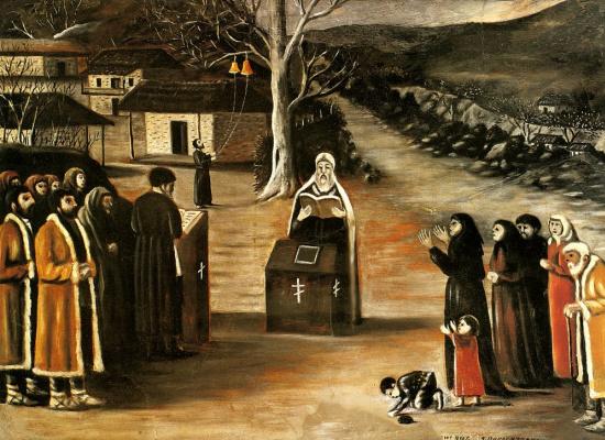 Нико Пиросмани (Пиросманашвили). Молебен в деревне