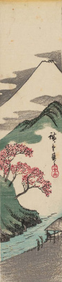 Utagawa Hiroshige. Cherry blossoms on the background of the river and mount Fuji