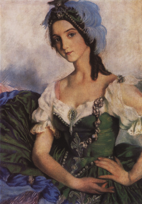 Zinaida Serebryakova. Portrait of A. D. Danilova in theatrical costume