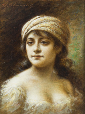 Fedor Petrovich Chumakov. Portrait of a young woman in a turban.