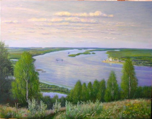 "Alexander Fedorovich Vazhnev. ""On the Volga. View of the Makaryevsky Monastery"""
