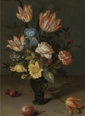 Baltazar van der Ast. Floral bouquet in glass vase, Tulip and plum on the table