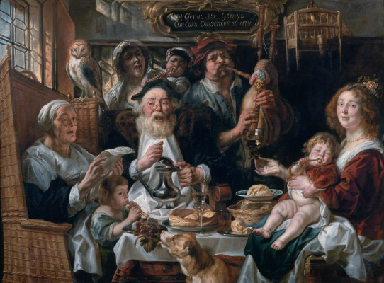 Jacob Jordaens. The old men sing, the young play
