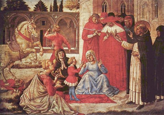 Беноццо Гоццоли. Алтарь Богородицы, пределла. Чудо св. Доминика