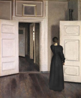 Вильгельм Хаммерсхёй. Интерьер. Женщина у открытой двери