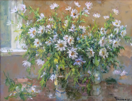 Tuman Art Gallery Tumana Zhumabayeva. Bouquet of daisies