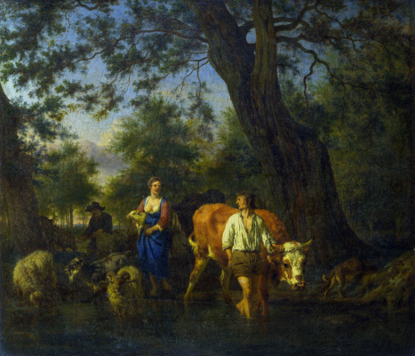 Adrian van de Velde. Peasants with cattle fording a stream