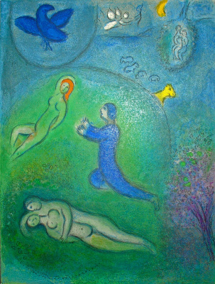 "Marc Chagall. Daphnis and License. From the series ""Daphnis and Chloe"""