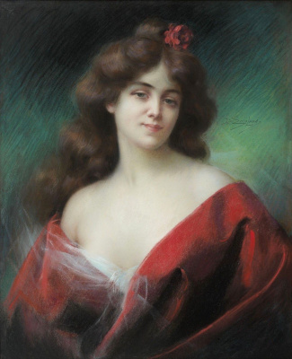 Dolphin Angolra. Portrait of a woman in a red dress