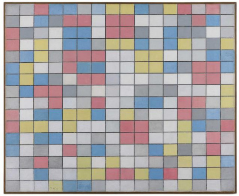 Piet Mondrian. Composition with grid 9: checkerboard composition with light colors