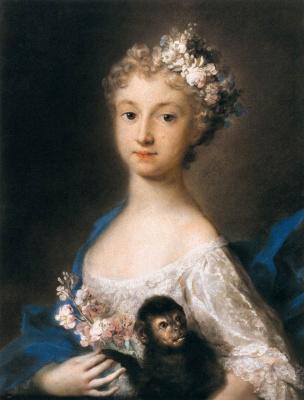 Розальба Каррьера (Каррера). Девушка с обезьянкой