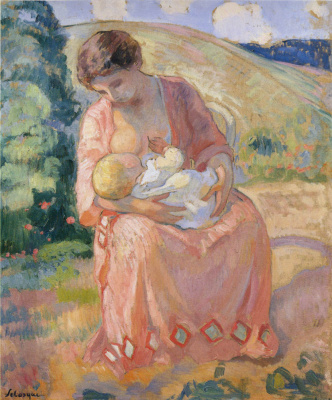Henri Lebasque. The mother and child.