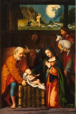 Бернардино Луини. Поклонение младенцу Христу
