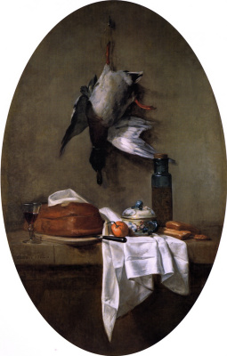 Jean Baptiste Simeon Chardin. Still life with duck and olive oil (oval)