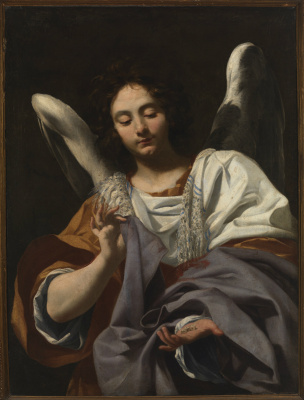 Simon Vouet. Angel with dices and tunic of Christ