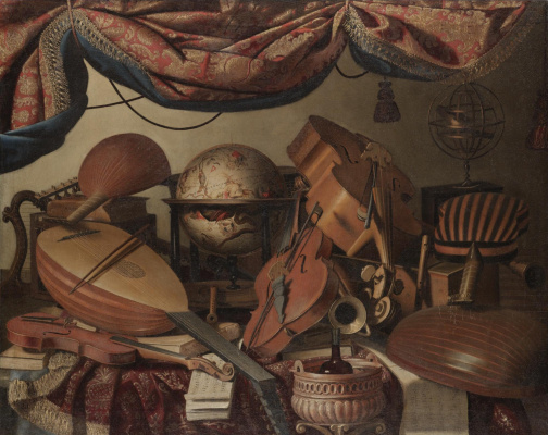 Bartolomeo bettera. Still life with musical instruments, a globe and books