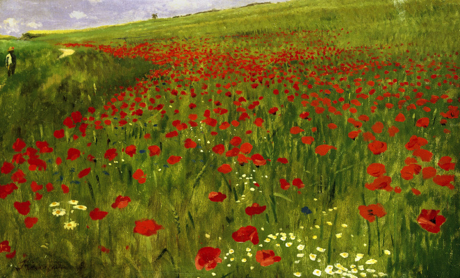Pál Szinyei Merse. Field with poppies
