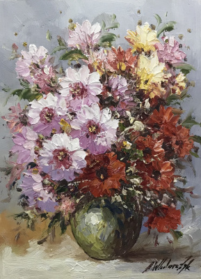 Andrzej Vlodarczyk. Multicolored bouquet in a green vase