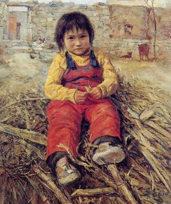 Цзян Хуэй. Маленькая девочка, сидя на дровах