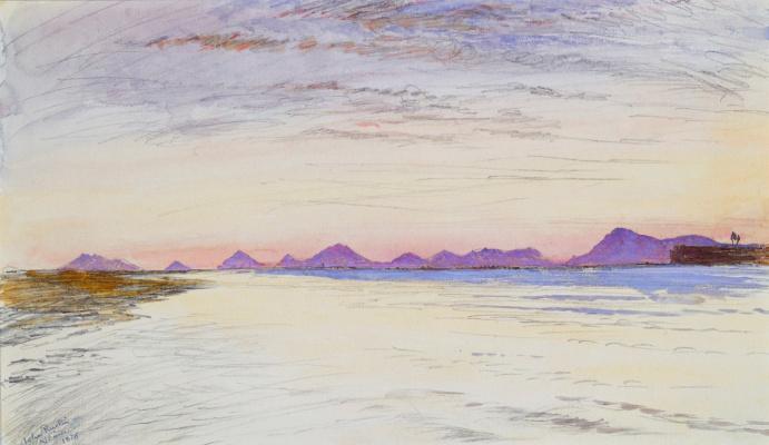 Джон Рёскин. Венеция: вид на гору и холмы Эугенай на закате