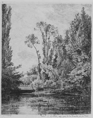 Charles-Francois Daubigny. Wild island in Bezons