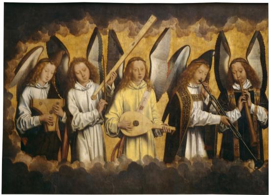 Ганс Мемлинг. Христос с поющими и музицирующими ангелами. Триптих, левая панель