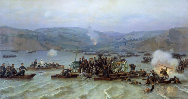 Nikolai Dmitrievich Dmitriev-Orenburg. The crossing of the Russian army across the Danube from Zimnitsy 15 Jun 1877