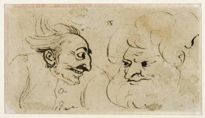 Август Копиш. Две мужские головы. Карикатура