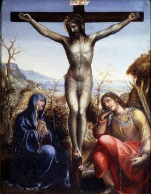 Джованни Антонио Бацци (Содома). Распятие с предстоящими Марией и Иоанном Евангелистом