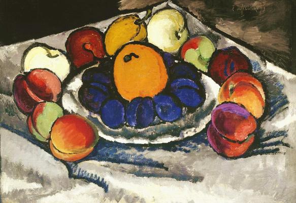 Ilya Ivanovich Mashkov. Still life. Fruits on a platter (Blue plums)