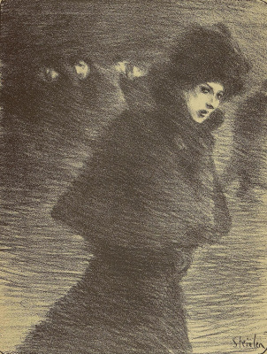 """Theophile-Alexander Steinlen. To the song """"the Woman who passes by"""". Illustration to the book by P. Delmas, """"Female songs"""""""