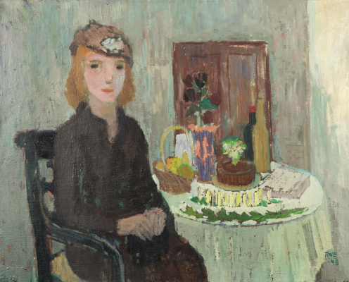 Tove Jansson. Birthday table. Portrait of a young woman in the interior