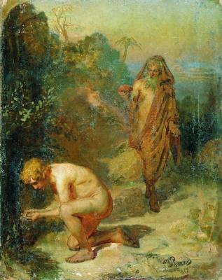 Ilya Efimovich Repin. Diogenes and the boy. Sketch-variant